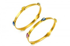 Sapphire and Ruby Bangle Bracelets