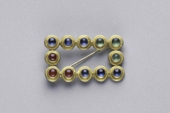 Sapphire, Ruby, and Emerald Brooch