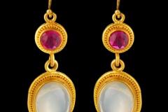 Moonstone and Ruby Earrings