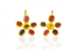Multi-Colored Daisy Sapphire Earrings