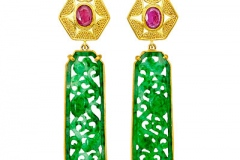 Jade and Ruby Earrings