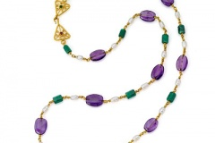 Amethyst, Emerald and Pearl Necklace