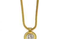 Silver Parthian Drachma Pendant with Canary Diamond