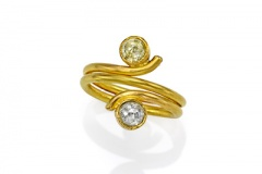 Rustic Yellow and White Diamond Ring